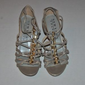New York Transit Metallic Gold High Heel Shoes, 8M